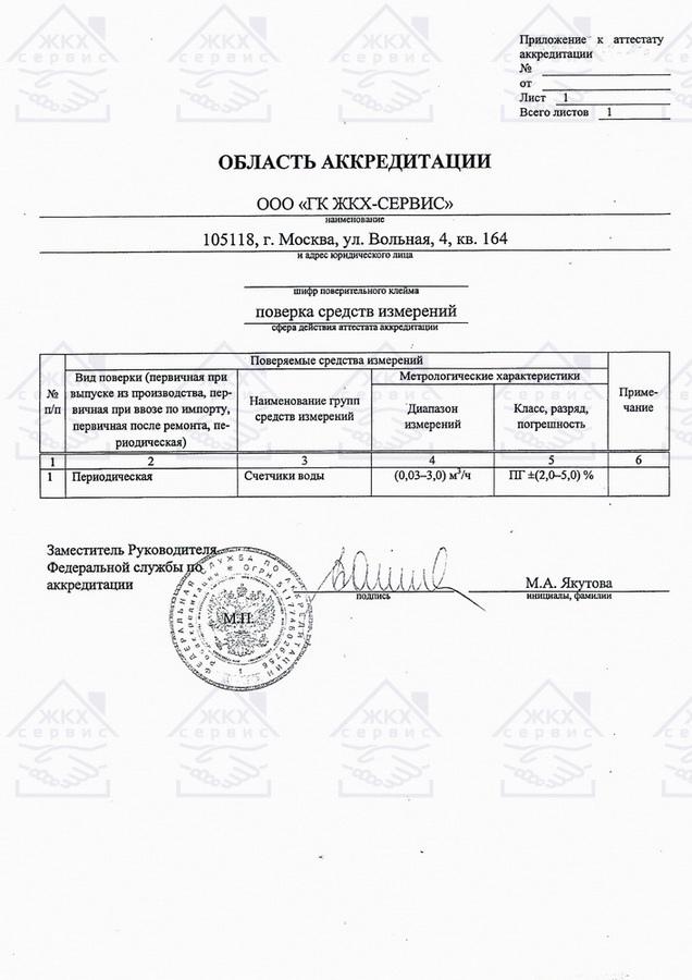 Область аккредитации ЖКХ-Сервис